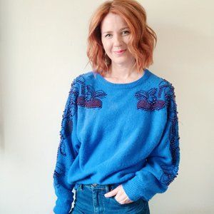 blue vintage beaded sweater, large
